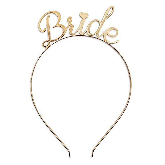 Tiara Bride Coração Dourada Pronta Entrega para Despedida de Solteira