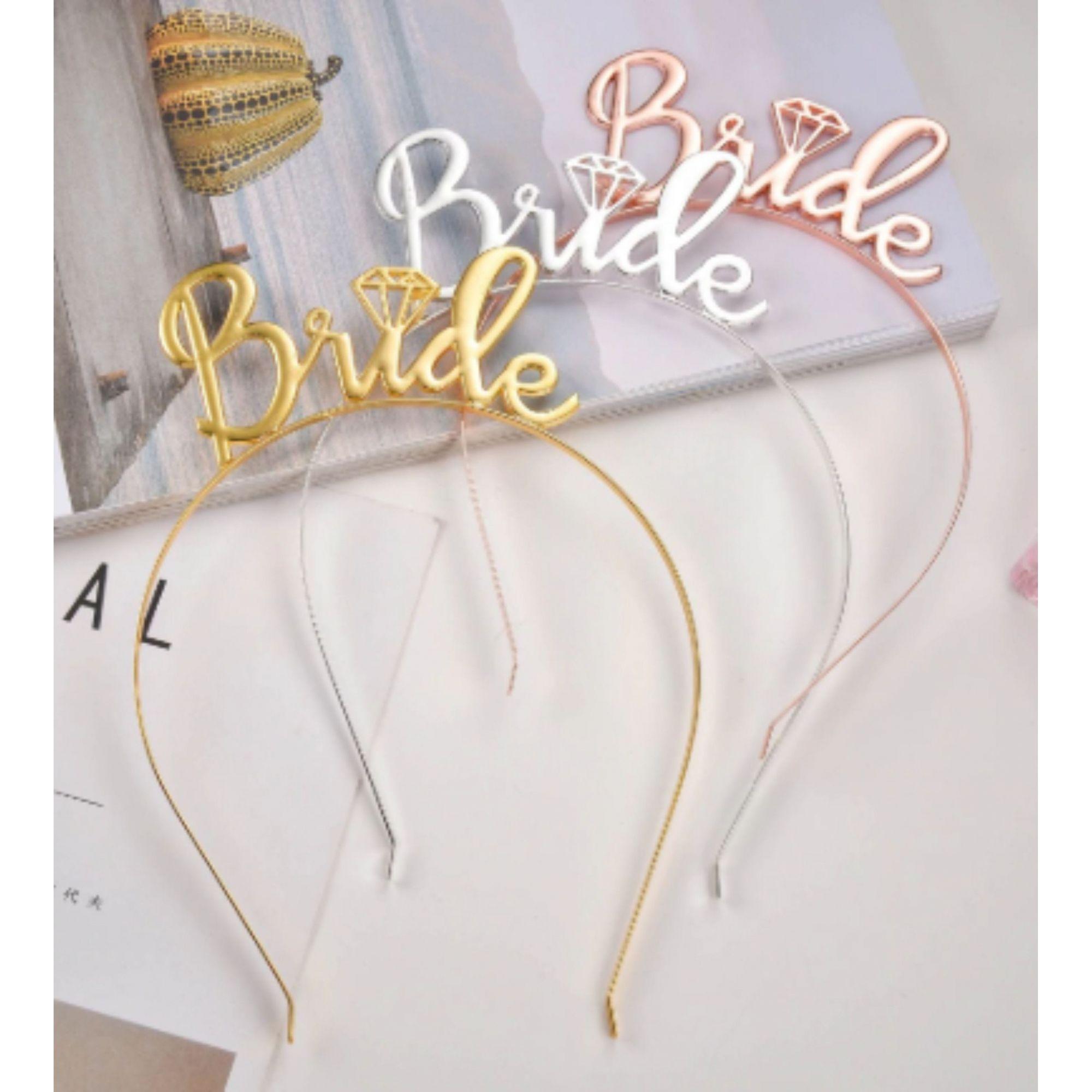 Tiara Bride Dourada Pronta Entrega para Despedida de Solteira