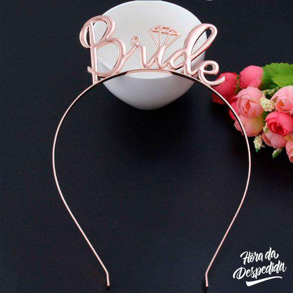 Tiara Bride Rose Gold Pronta Entrega para Despedida de Solteira