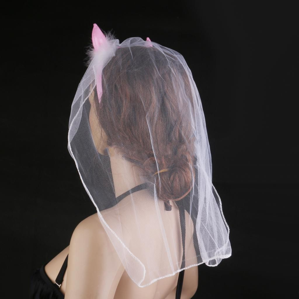 Tiara Diabinha Rosa com Véu, Tiara Headband com Véu, Tiara com Véu para Despedida de solteira, Tiara com Véu para Chá Bar