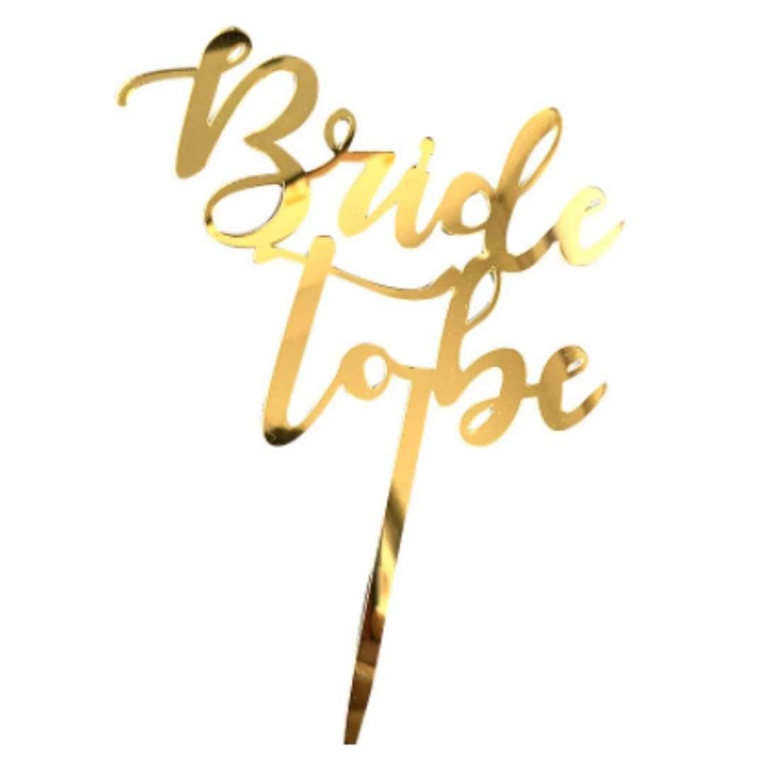 Topper de bolo bride to be dourado