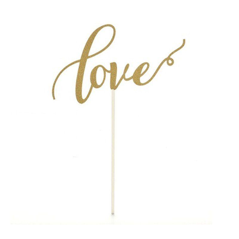 Topper LOVE caligráfico Dourado de Bolo Para Despedida de Solteira ou Chá de Lingerie Unidade, Topper LOVE caligráfico Dourado, Topper LOVE, Decoração LOVE Despedida de Solteira