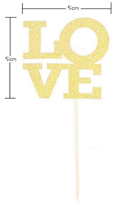 Topper LOVE Dourado de Bolo Para Despedida de Solteira ou Chá de Lingerie Pacote, Topper LOVE Dourado, Topper LOVE, Decoração LOVE Despedida de Solteira