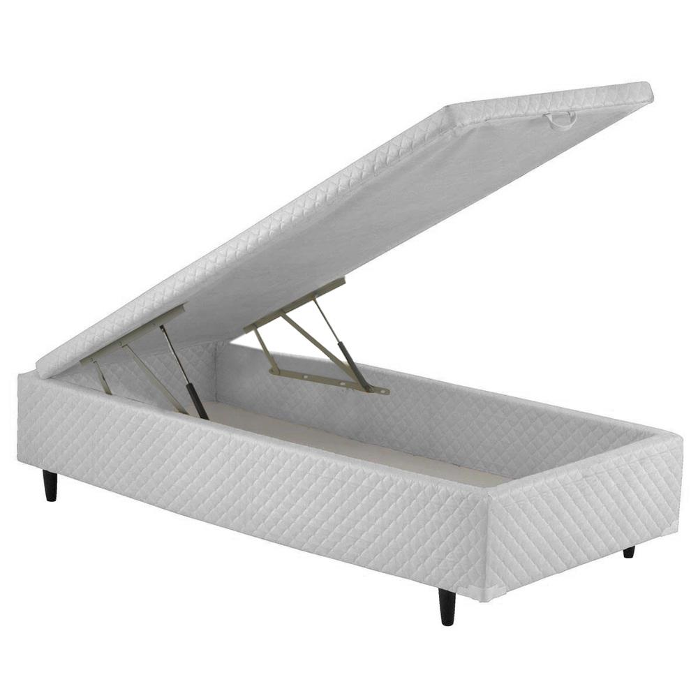 Cama Box Bau Solteiro com Colchão Molas Ensacadas com Pillow-Top