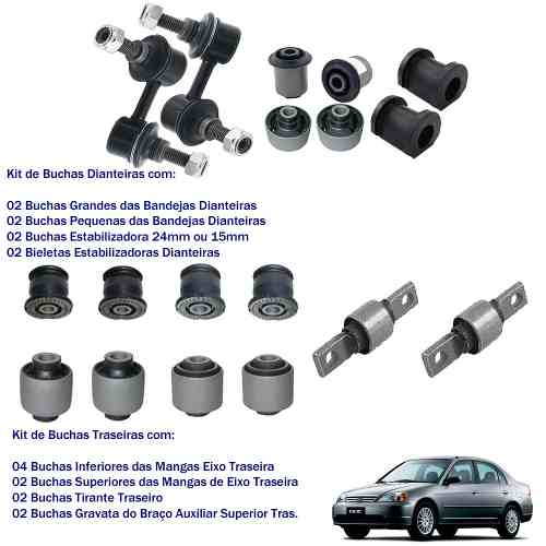 Kit Buchas e Bieletas Dianteiras Traseiras Honda Civic 01/06 (18 Peças)