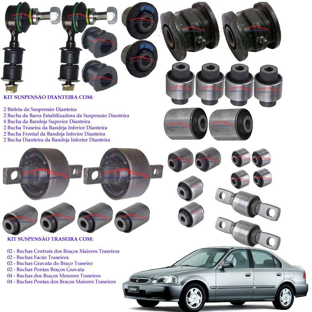 Kit Com 30 Buchas Suspensão Dianteira/Traseira Honda Civic 98/00