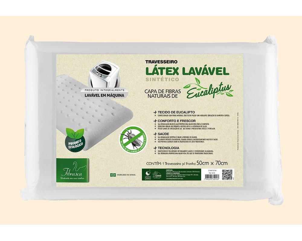 Travesseiro Latex Lavável Eucaliptus Fibrasca