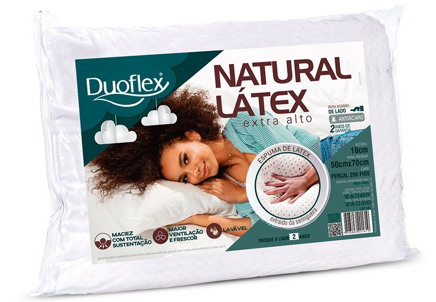 TRAVESSEIRO NATURAL LATEX EXTRA ALTO - DUOFLEX