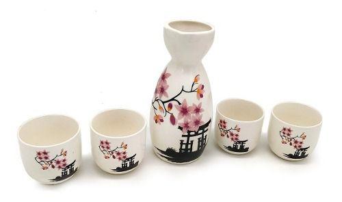 Sake Saque Jogo Vasilhame E 4 Cálices Floral Violeta  - Super Utilidades