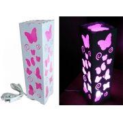 Luminária Abajur Borboleta Rosa para Sala Quarto Dormitório