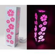 Luminária Abajur Flor de Cerejeira Sakura p/ Sala Quarto Dormitório