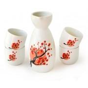 Sake Saque Jogo Vasilhame E 4 Cálices Floral Importado