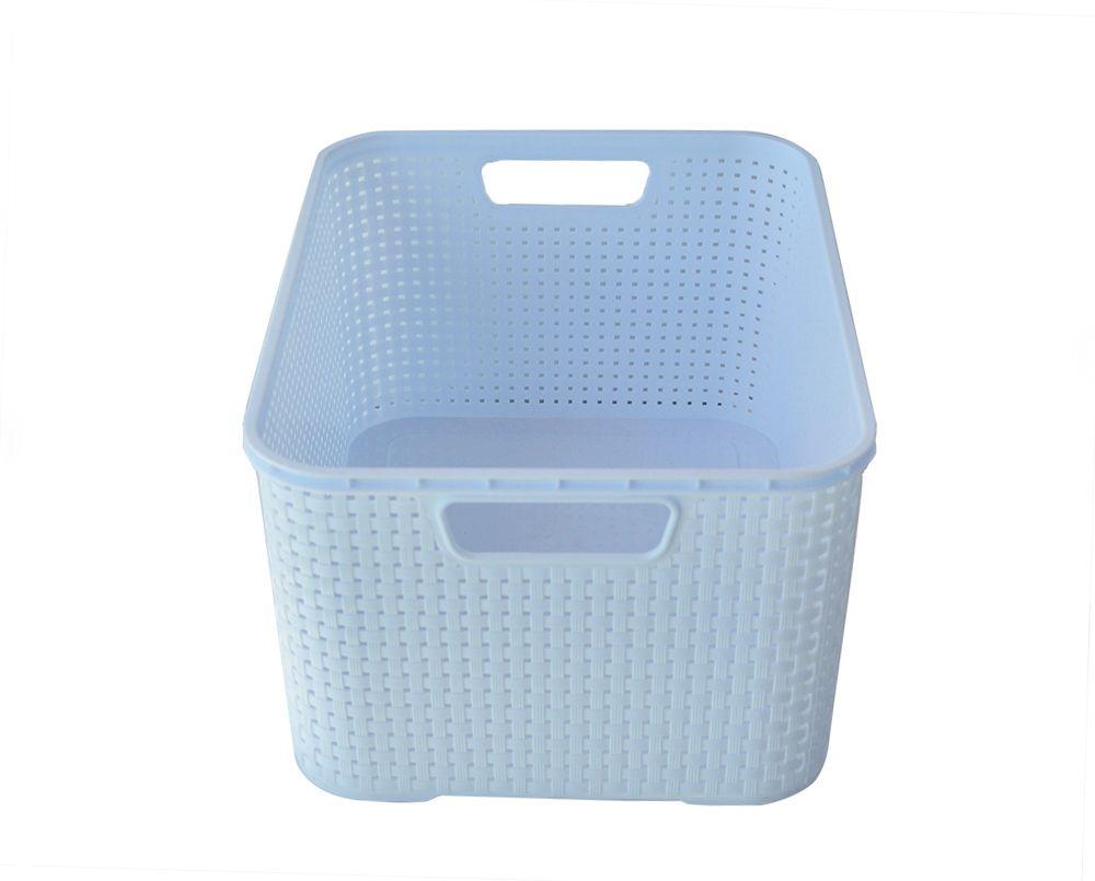 2 Cestas Organizadora Azul Claro com tampa 15 litros Rattan   - Super Utilidades