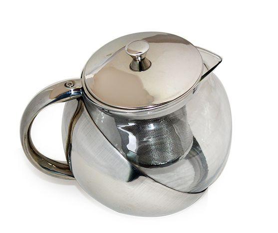 Bule com infusor de Chá 900 ml inox e vidro 5508KH    - Super Utilidades