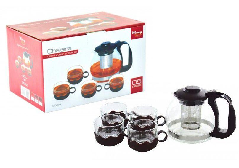 Chaleira de vidro 1,2 litros com Infusor de Chá e 4 xicaras  - Super Utilidades