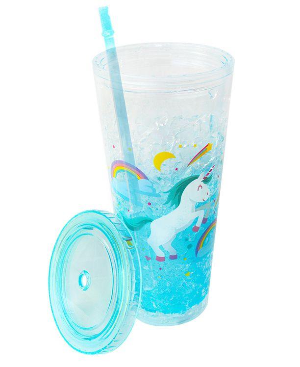 Copo Gel Congelante Unicórnio 650ml Azul   - Super Utilidades