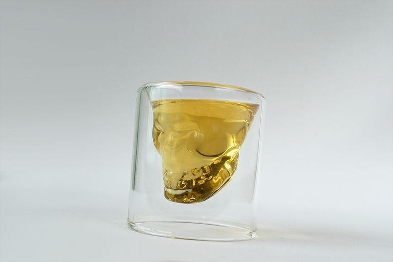 Copo kit 4 unid Shot de Vidro Caveira Whisky Bebida 20ml  - Super Utilidades