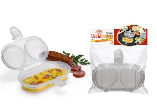 Forma para Fazer Ovo e Omelete sem Óleo no Microondas 2 em 1   - Super Utilidades