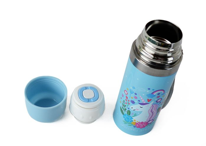 Garrafa Unicórnio Azul térmica Inox 350 ml  - quente ou frio  - Super Utilidades