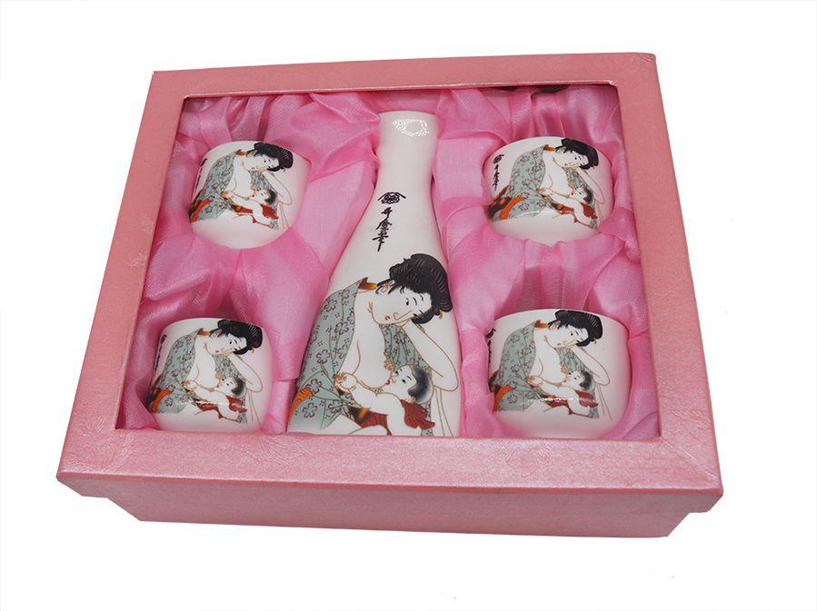 Sake Saque Jogo Vasilhame E 4 Cálices Gueixa retrô  - Super Utilidades