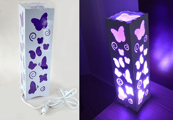 Luminária Abajur Borboleta Lilás para Sala Quarto Dormitório   - Super Utilidades