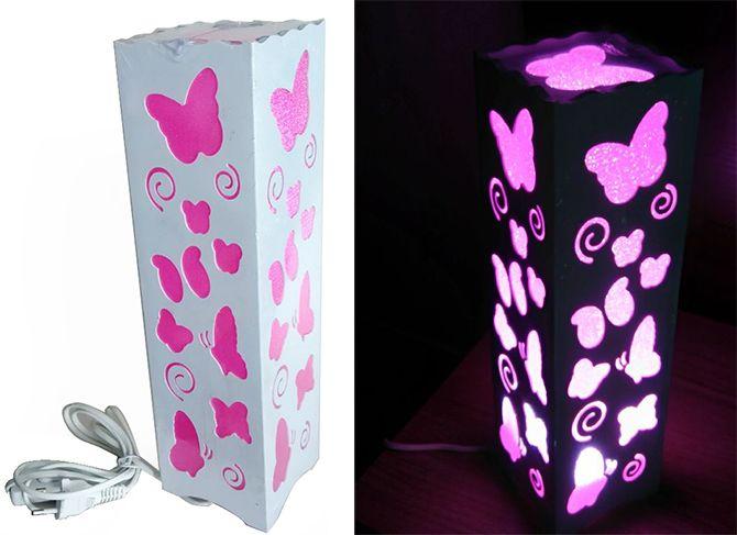 Luminária Abajur Borboleta Rosa para Sala Quarto Dormitório   - Super Utilidades