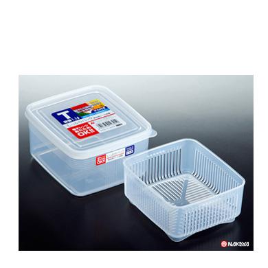 Pote Plástico com escorredor p/ armazenar queijo  tofu  13,4 × 15 × 7,7 cm K-230  - Super Utilidades
