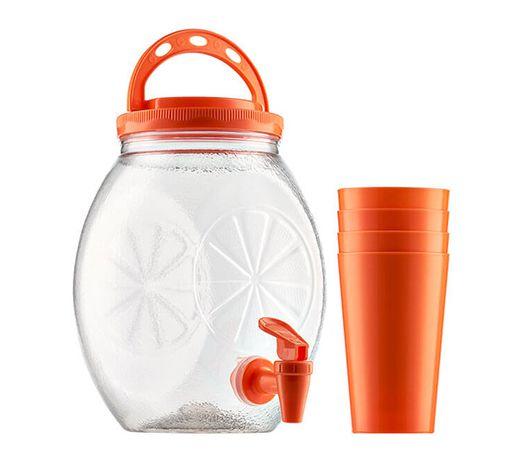 Suqueira 3 litros Plástico + 4 Copos  - Super Utilidades