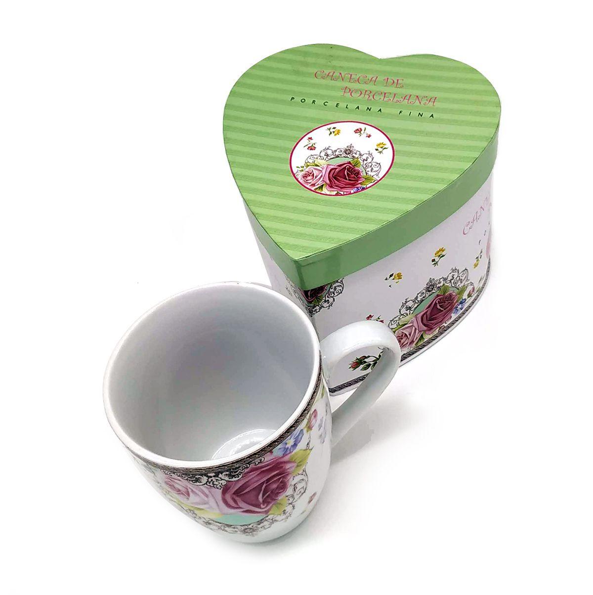 Xícara Caneca Chá Rosa Floral 290ml presente  - Super Utilidades