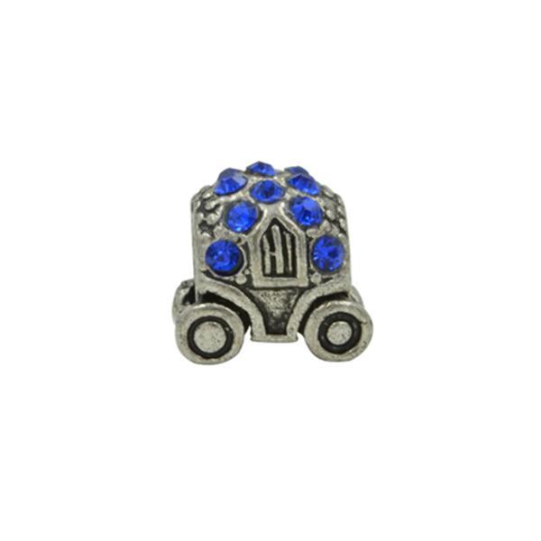 Berloque Charm Pandora Inspired Carruagem de Strass Azul