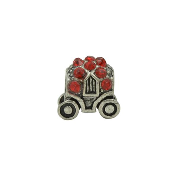 Berloque Charm Pandora Inspired Carruagem de Strass Vermelho