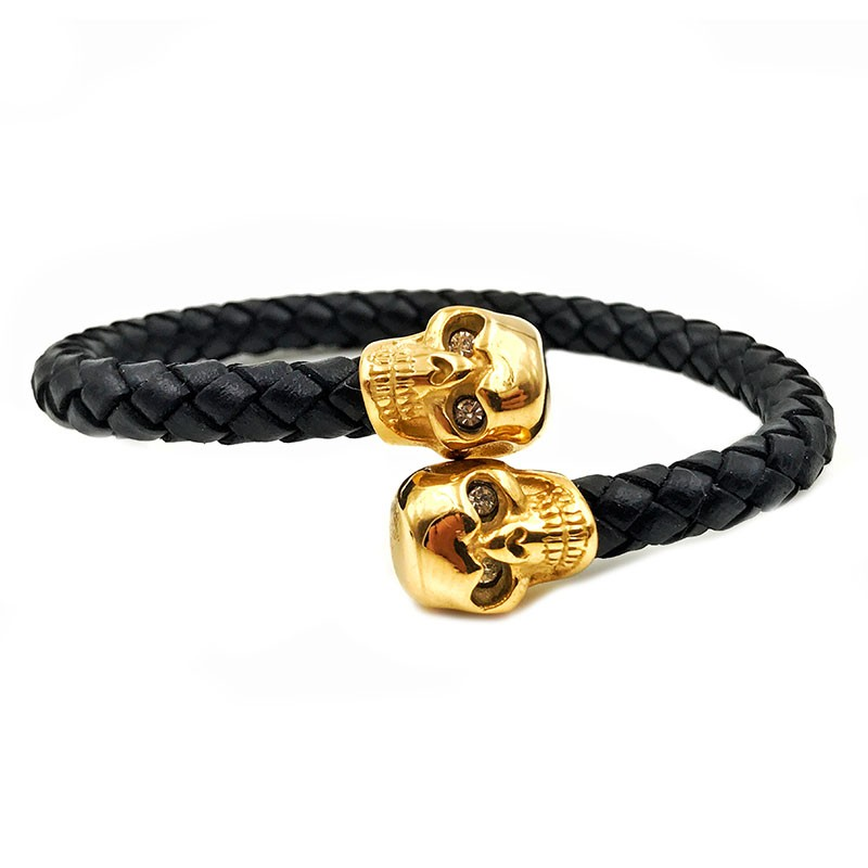 Pulseira Leather Skull Gold