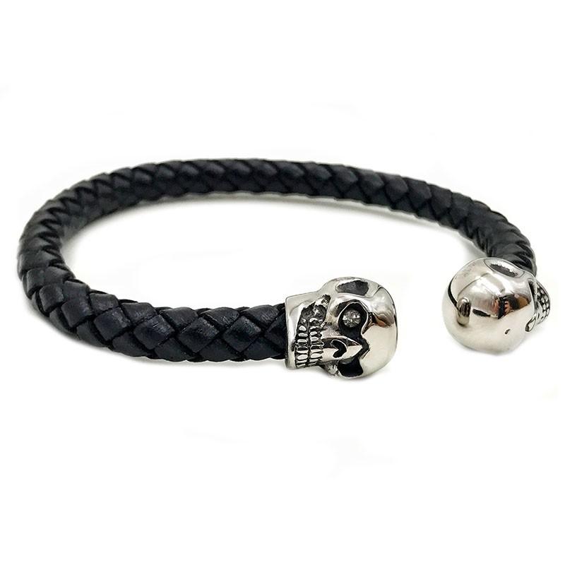Pulseira Leather Skull Silver