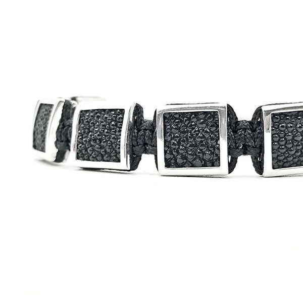 Pulseira Macrame Cubic Stingray Leather 18K Silver
