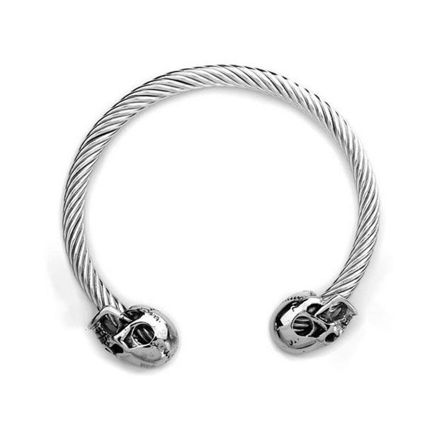 Pulseira Masculina Aço Skull Silver