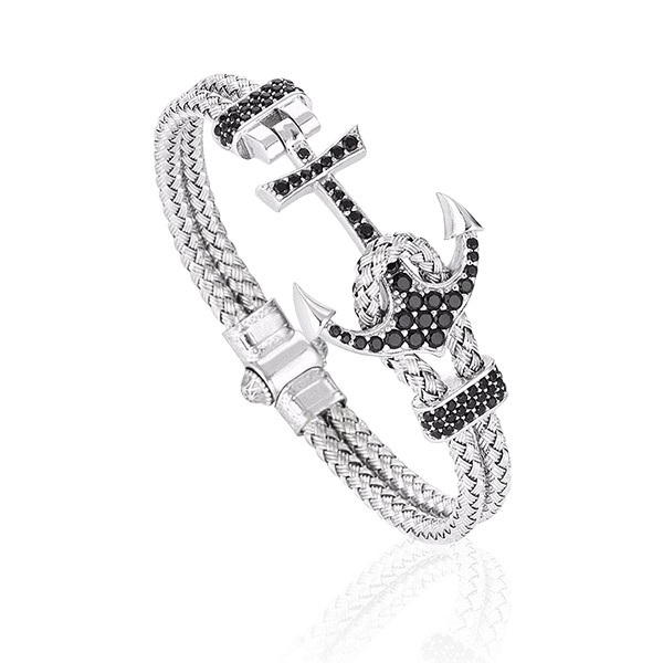 Pulseira Masculina Luxury Anchor Bangle Silver