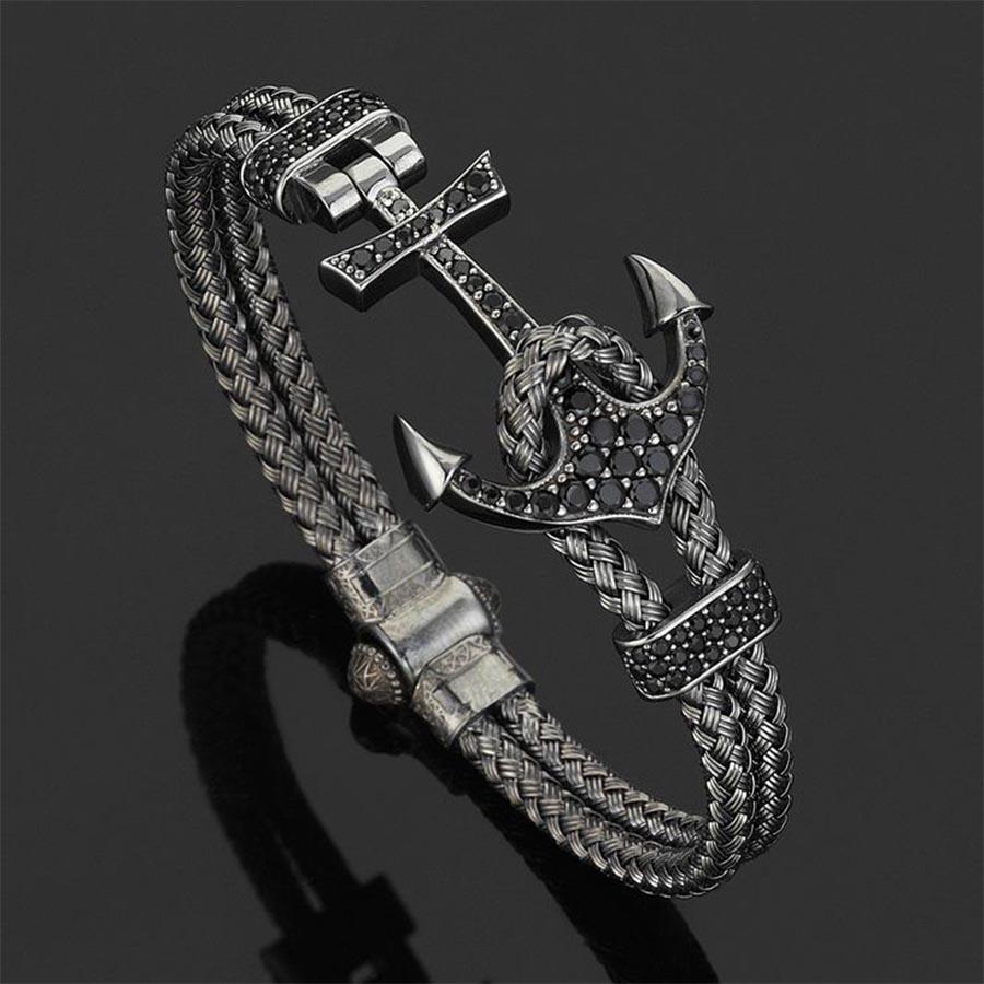 Pulseira Masculina Luxury Anchor Bangle Black
