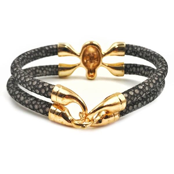 Pulseira Skull Leather Gold