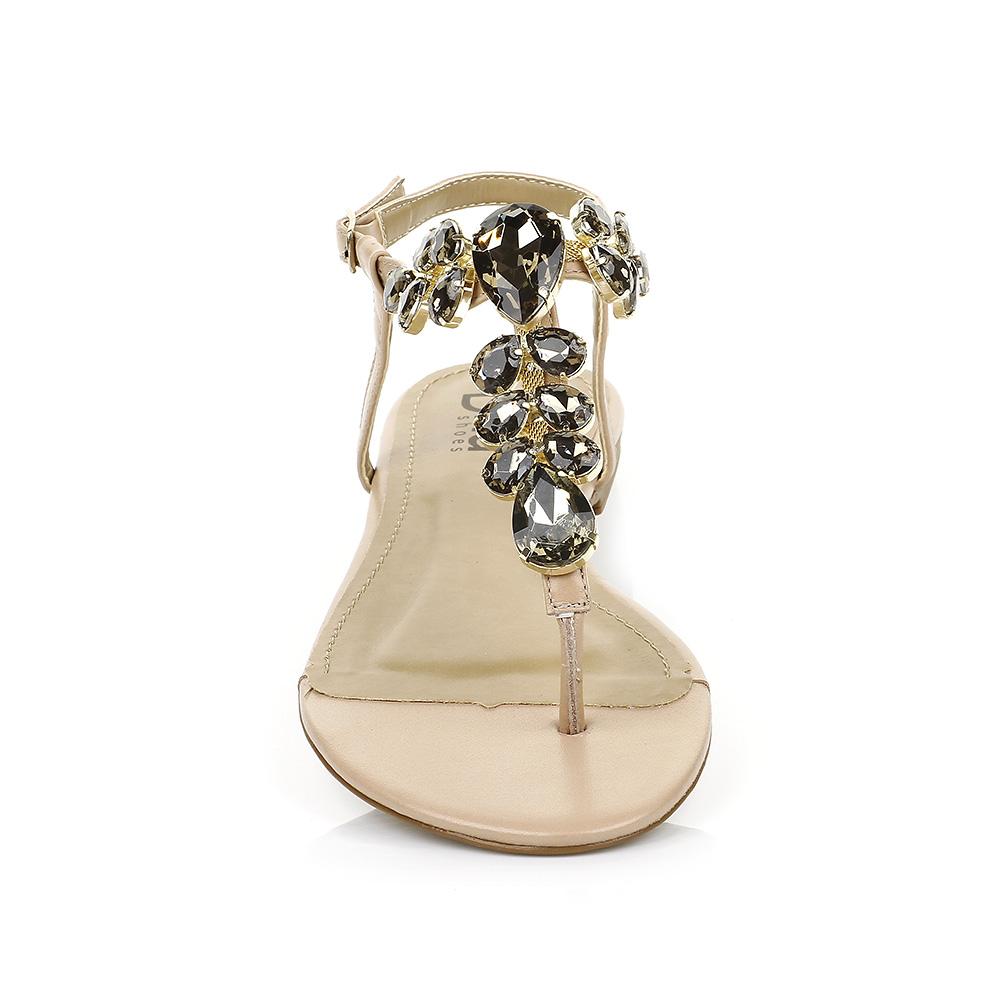 Sandália Rasteira com Pedrarias Nude DNA Shoes 101.052