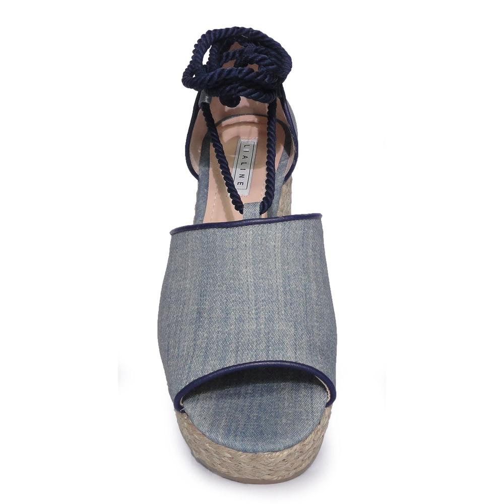 Sandália Anabela Jeans Azul Lia Line 1638-8523