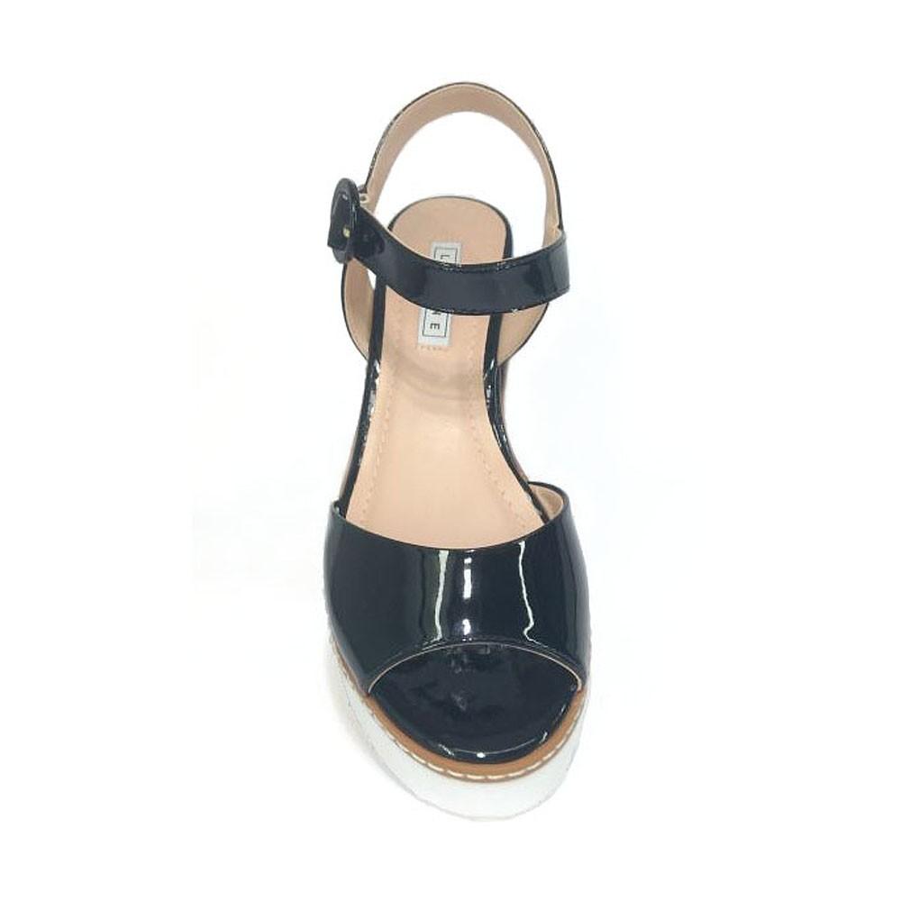 Sandália Flatform Preta Lia Line 1646-8585