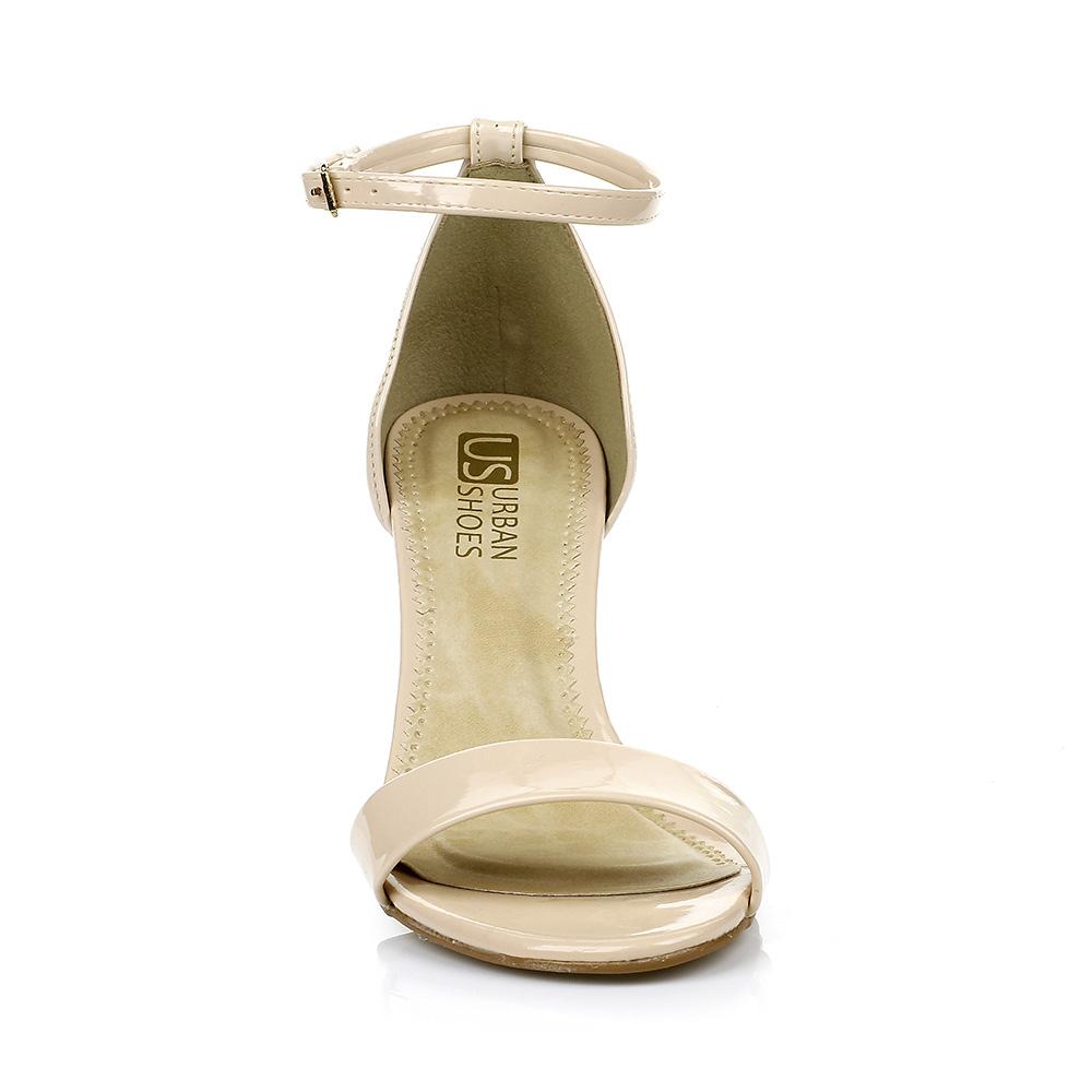 Sandália Salto Baixo Verniz Nude Urban Shoes 958.8162