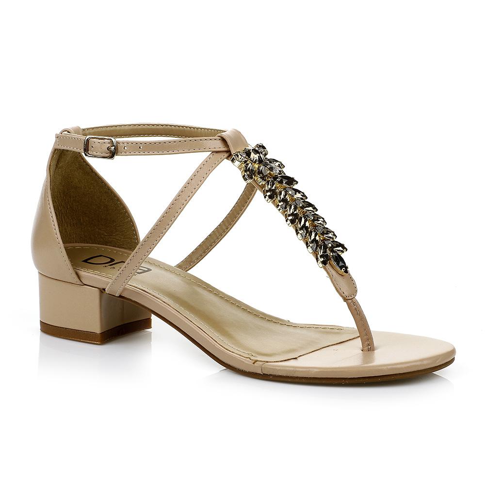 Sandália Salto Baixo com Pedrarias Nude DNA Shoes 301.019