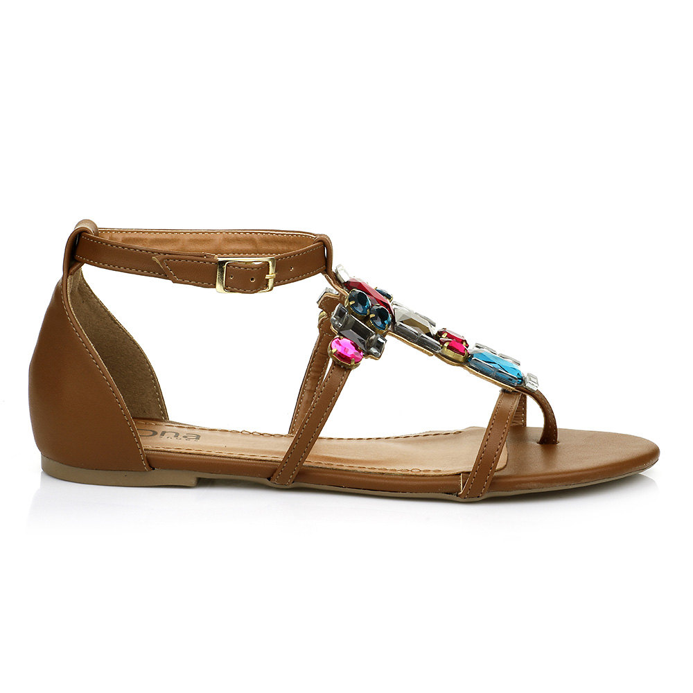 Sandália Rasteira com Pedrarias Color DNA Shoes 30.144
