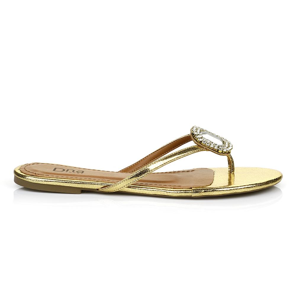 Sandália Rasteira com Pedrarias DNA Shoes 30.148