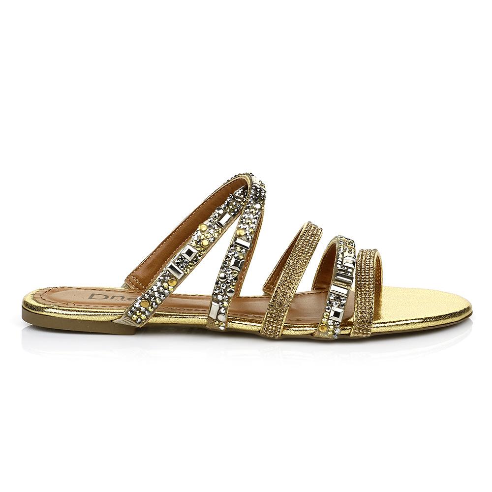 Sandália Rasteira com Pedrarias Ouro DNA Shoes 30.135