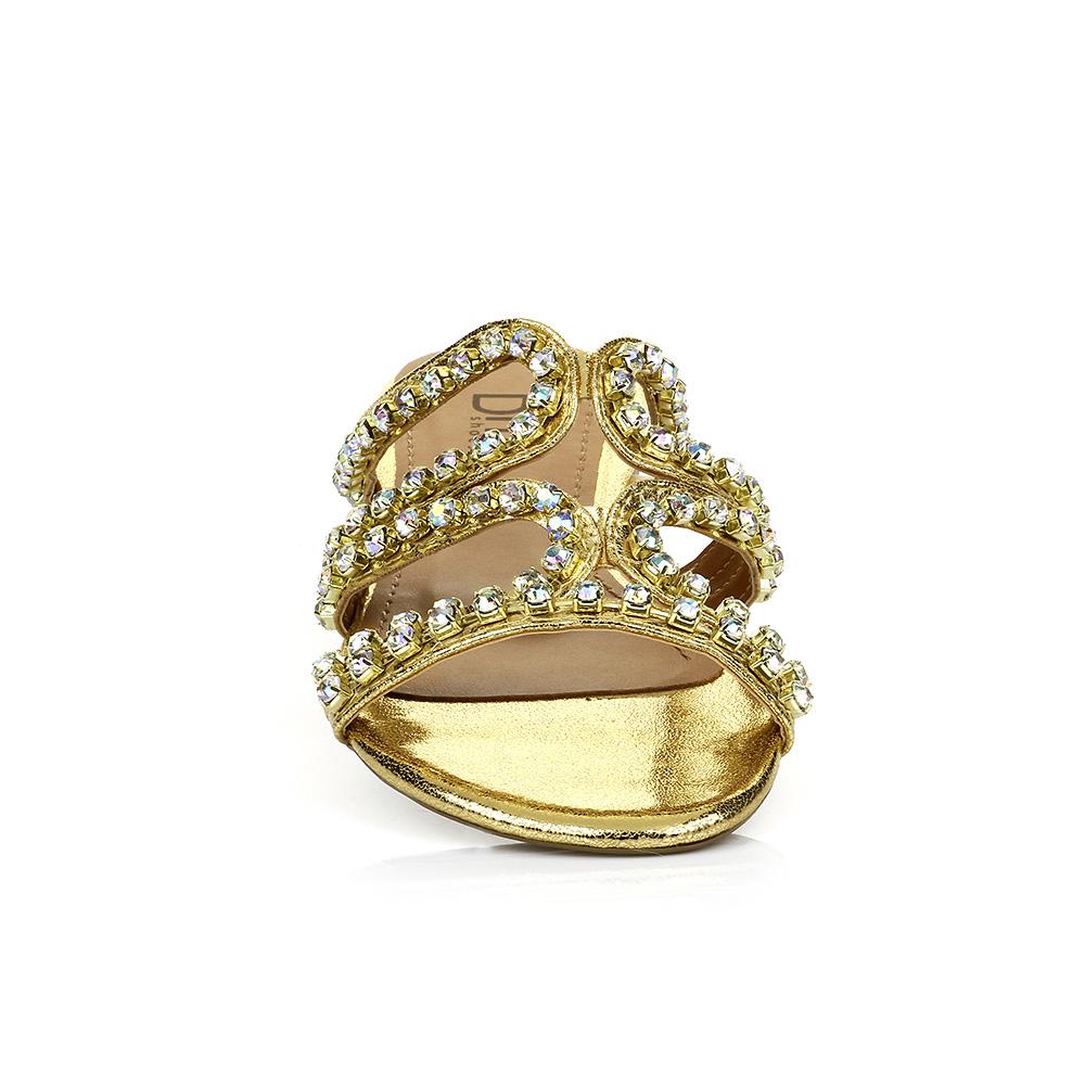 Sandália Rasteira Strass Ouro DNA Shoes 30.136
