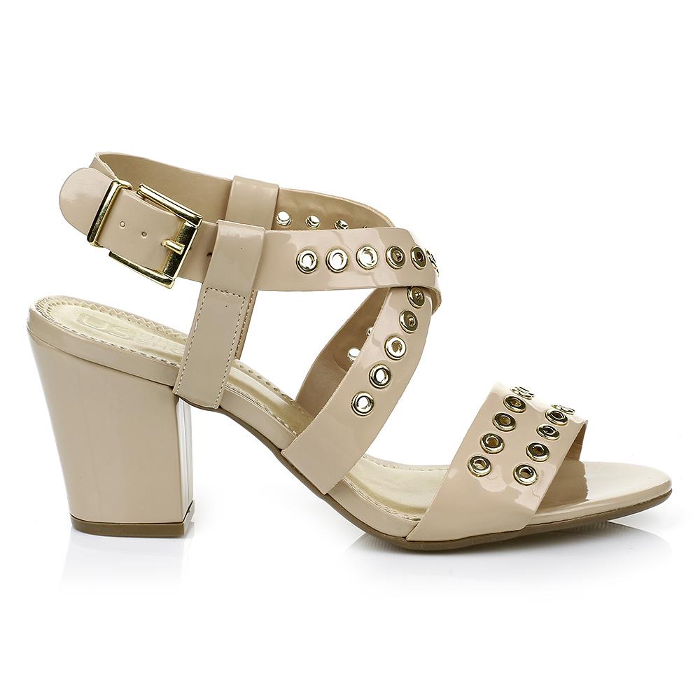 Sandália Salto Grosso Nude Urban Shoes 953.8243
