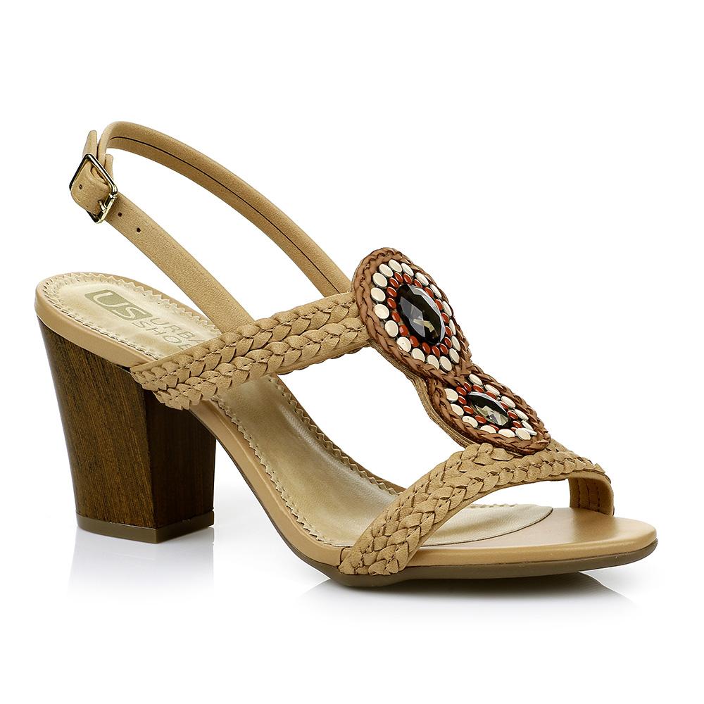 Sandália Salto Grosso com Pedrarias Urban Shoes 954.8400