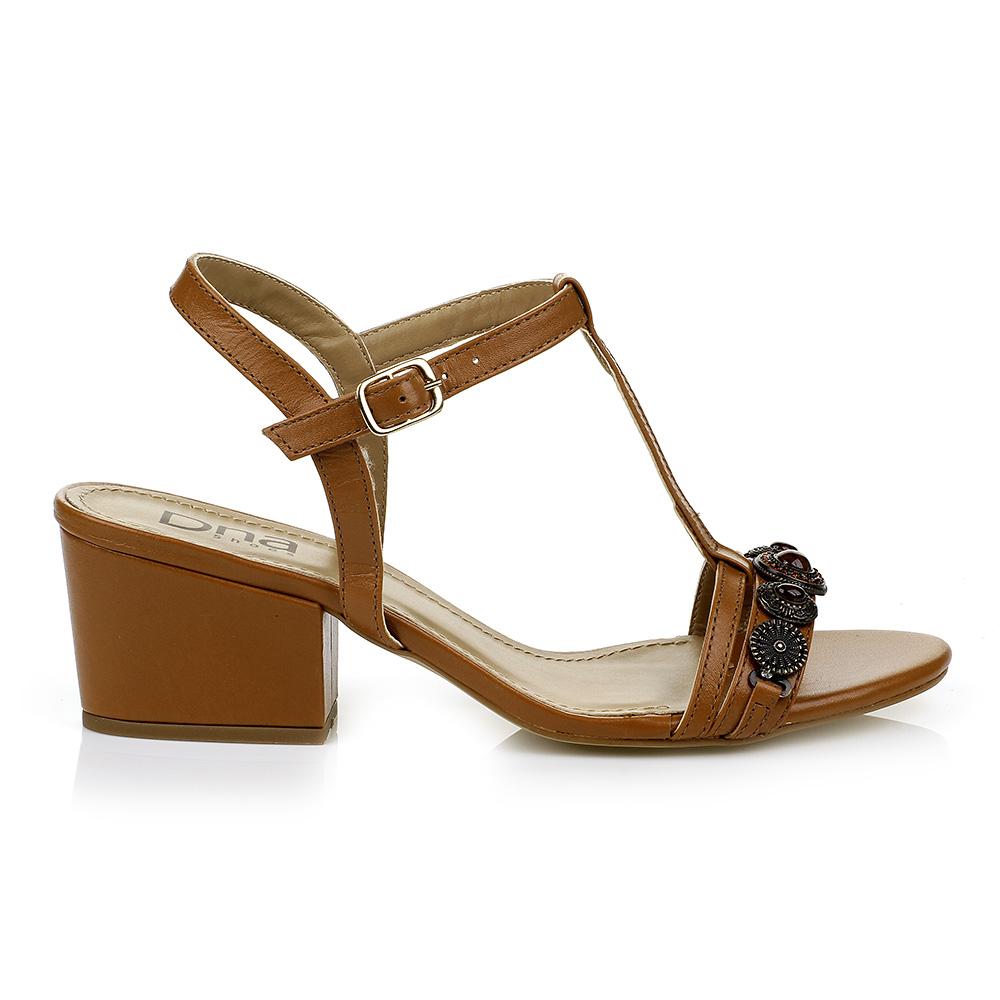 Sandália Salto bloco com Metal e Pedrarias DNA Shoes 308.005